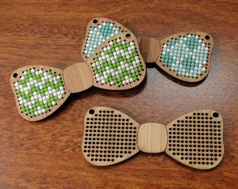 Bow Tie Cross Stitch Pendant blank in bamboo - stitch your own design!