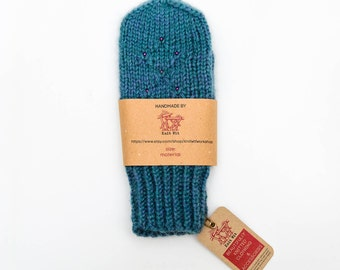 Warm, cozy & colorful hand knitted wool mittens gift for her