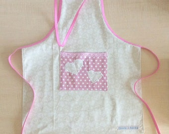 Cotton kids apron - pink cream girl apron.