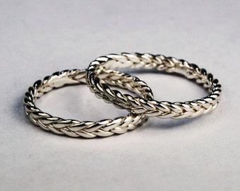 Solid 10k White Gold Thin Braid Ring