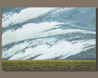 large abstract painting, large landscape painting, large cloud painting, prairie painting, field painting, wheat, painterly, Alberta, 24x36