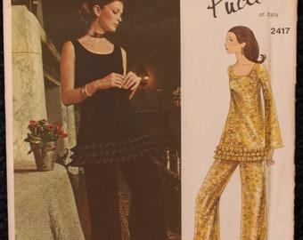 Rare UNCUT Emilio Pucci Sewing Pattern - Vogue Pattern 2417 - vintage 1970s Vogue Couturier Design - top and pants