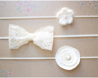 Baby girl ivory/cream headband set