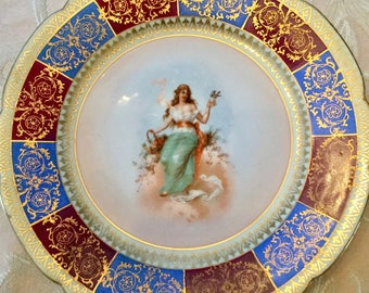 Royal Vienna China Plate, figural portrait, Blonde woman with Bird 8.5