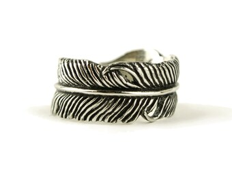 Feather Ring Antique Silver color bronze Adjustable Feather Wrap Ring Boho Jewelry - FRI002