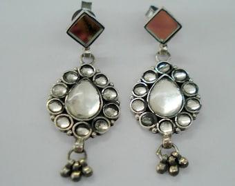 sterling silver earrings handmade tribal earrings stud earrings mirror earrings