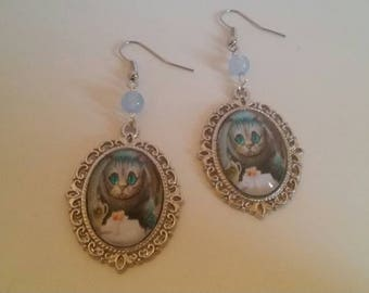 Earrings cabochon cat fairytale alice in Wonderland cabochon cat pendant hand made costume jewelry glass bead