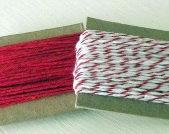 Cotton string Solid Red Cherry Divine Twine 10 Yards Each 20 Yards Total craft supply gift wrap holidays