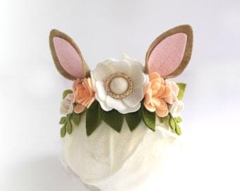 Deer Flower Crown Headband, Holiday Headband, Animal Ear Headband, Deer Ears, Boho Deer Hair Accessory
