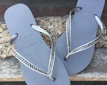 c6dfd3479b8bbb Gray Flip Flops Havaianas Slim Silver Seal Steel Grey Charcoal w  Swarovski  Crystal Sophisticate Sandals