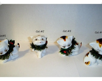 Ceramic White Cat Figure with Small Wreath Collar / 4 Choices to pick from / Holiday Decor/ Supplies*
