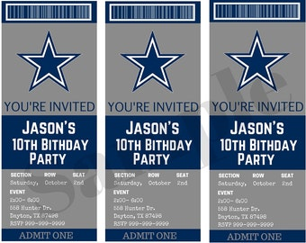 Dallas Cowboys Birthday Ticket Party Invitations...  Custom, Personalized DIGITAL FILE