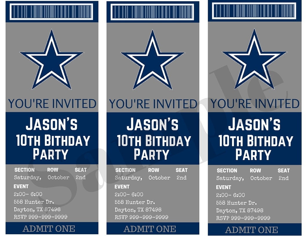Dallas cowboys birthday ticket party invitations custom zoom filmwisefo Gallery