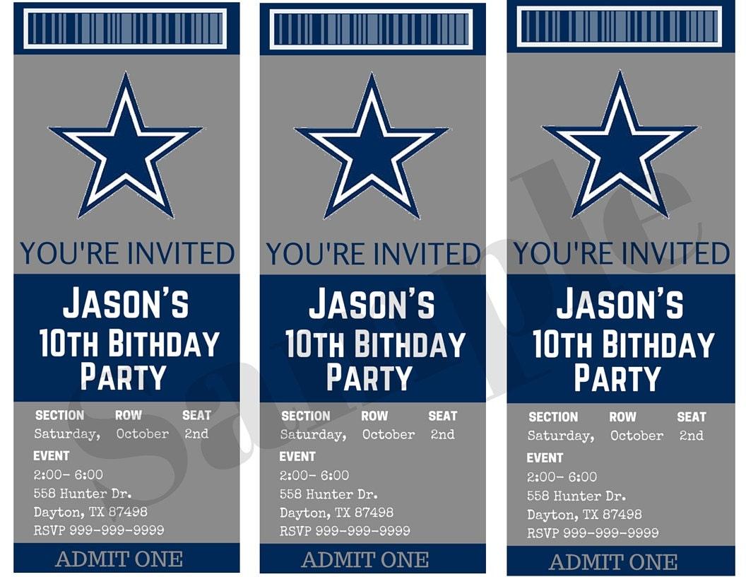 Dallas cowboys birthday ticket party invitations custom zoom kristyandbryce Choice Image