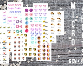 Meal Planning Micro Sticker Set-Micro Planner Sticker Set for Micro Binder-Tiny Sticker Compatible with Most Planners-Set of 15 Micro Sheets