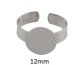 2 Pieces Stainless Steel Adjustable Ring Base Blanks with 12mm Pad Cabochon Setting