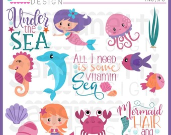 Under the sea clipart, sea clipart, mermaid clipart, crab clipart, summer clipart, ocean clipart, seahorse clipart, Instant Download