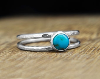 Turquoise silver ring, Turquoise ring, blue stone ring, Dainty thin band, hammered double ring, boho style silver ring