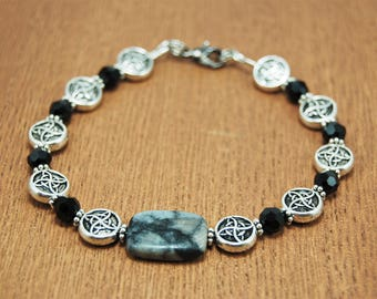 Grey Stone Celtic Bracelet