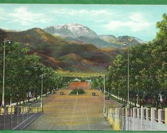 Vintage Postcard - Pikes Peak Viewed From Platte Avenue in Colorado Springs, Colorado  (3327)