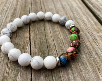 White and Multi-Colored Beaded Bracelet