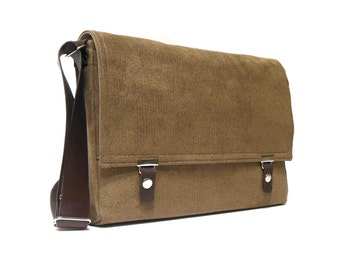 "Messenger bag for 12"" MacBook with leather strap - medium brown herringbone"