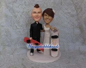 Custom wedding cake topper,Snowboard cake topper,clay figurine,mr and mrs cake topper, bride and groom cake topper, snowboard