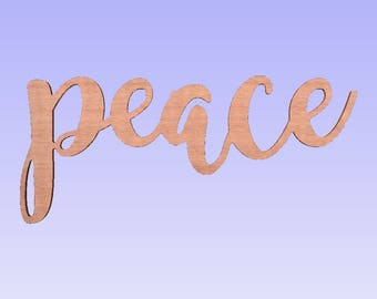 Unfinished peace Sign,peace wood word,script peace word,unpainted peace sign,inspirational signs,religious signs,christmas signs,10x12w