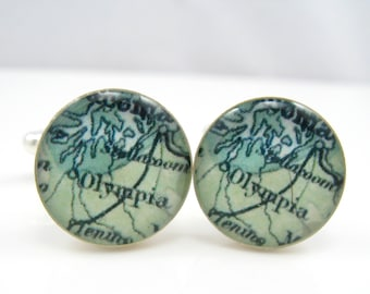Vintage map cufflinks - Olympia WA 1922 - silver-plated round