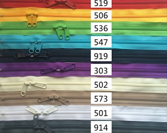 One 36 Inch 4.5mm YKK Zipper with Double Pull- Head to Head Sliders- Your choice of Color-