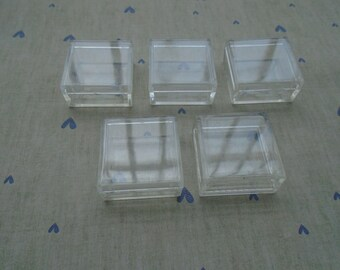 10Pcs Transparent Square Plastic Box,Packing Box,Cream Box,Lenses Box,Nail Box,Beauty Box,Makeup Tool,Gift Box 35x35x17MM---PH1065