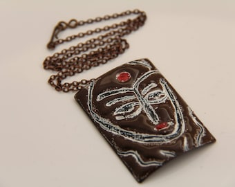 EN1047 - ENAMEL COPPER PENDANT, Enamel Pendant, Sgraffito Design, Copper, Vintaj Chain, Mother's Day Gift, Anniversary