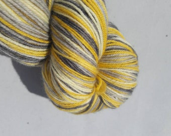 Hand dyed self-striping sock yarn 100g Misty morning colourway