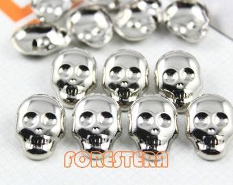 200Pcs 16mm Silver Skull Studs Metal Studs (SSK16)