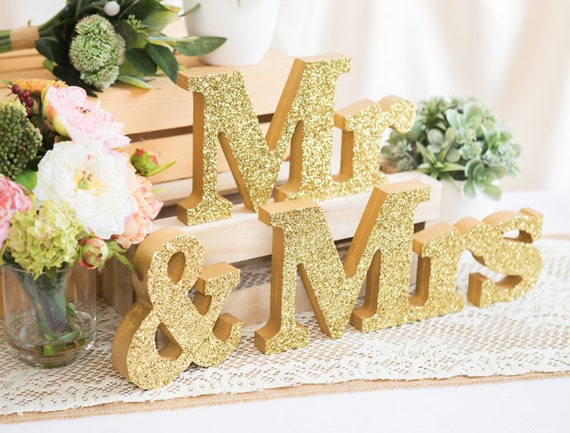 Mr And Mrs Large Wooden Letters: Mr And Mrs Signs For Sweetheart Table Decor Wooden Letters Mr
