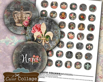 French Collage Sheet, 1 Inch Circles, Fleur De Lis, Printable, Bottlecap Images, Digital Images, Digital Circles, Digital Paper