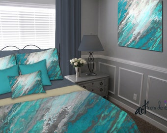 Teal gray, Duvet Cover, Queen King Full Twin, Bedding set, Bohemian, Abstract art, Turquoise, Master bedroom decor, Designer