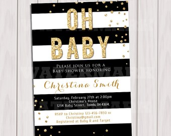 Black and Gold Baby Shower Invitation, Black white stripes gold glitter baby shower invitation, Printable baby shower invite