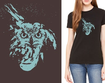 Unisex T-shirt - Andy Owl - Andy Warhol's iconic, silk screened, pop art portrait with an owl.