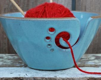 Light Blue Ceramic Yarn Bowl, Yarn Bowl, Knitting Bowl, Crochet Bowl, Yarn Bowl, Ready to Ship