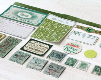 20 Piece Mini Green Paper Ephemera Pack - Tickets, Cards, Tags, Button, Stamps, etc. Pack for Altered Arts Collage Destash
