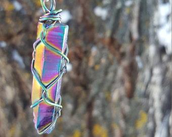 Titanium Aura Quartz Wire Wrapped Healing Necklace
