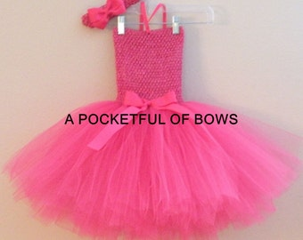 Hot Pink Tutu Dress, Girls Tutu Dress, Birthday Tutu Dress Newborn Toddler Girls Size