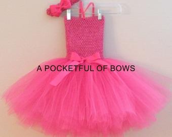 Hot Pink Tutu Dress, Girls Tutu Dress, Birthday Tutu Dress Newborn Toddler Girls Size