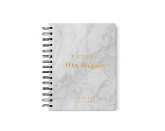 Wedding Planner Book for Bride, Personalized Wedding Planner Marble, Gold Wedding Planner with Tabs, Design 002