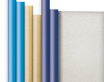 Jillson & Roberts Double-Sided Kraft Gift Wrap Roll Assortment, Hanukkah (6 Rolls)