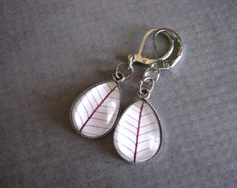 White Leaf Earrings : Glass Drop Jewelry