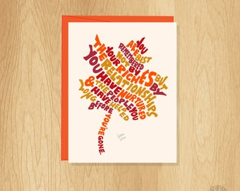 Hand Lettered Maple Leaf Card, Nature Card, Fun Thank You Card, Autumn Card, Thanksgiving Card, Fall Card, Friendship Card