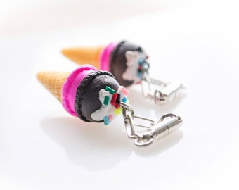 Ice Cream Cone Magnetic Clasp Gauged Earrings - Chocolate and Strawberry with Sprinkles