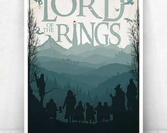 Lord of the Rings Movie Poster Illustration / Lord of the Rings Movie Poster / Movie Poster / Lord of the Rings / Fellowship of the Ring